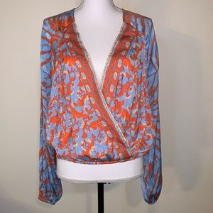Free People wrap front boho blouse size M
